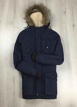 F9 зимняя темно-синяя парка с мехом на капюшоне new look куртк...