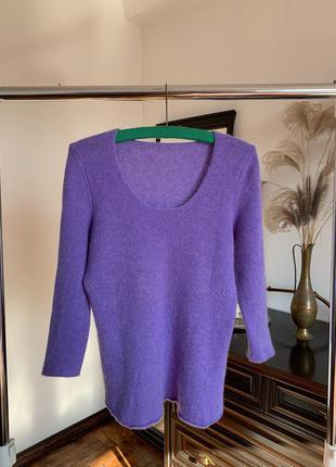 Сиреневый кашемировый свитер. шерстяной свитер лавандового...