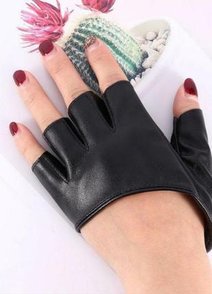 Перчатки без пальцев кожаные митенки кожзам байкерские танцева...