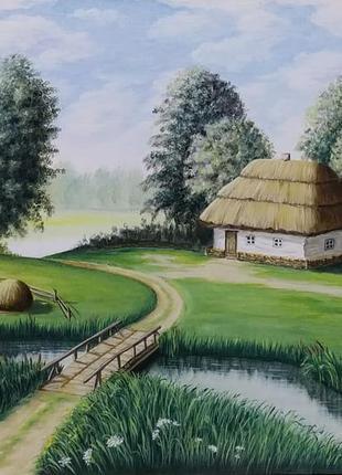 """Картина маслом """"Мальовниче село"""" авторская работа"""