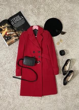 Базовое красное двубортное шерстяное пальто №34