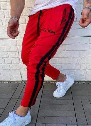 Спортивные штаны с принтом palm angels красные лампас / штани ...