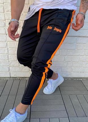 Спортивные штаны с принтом palm angels черные лампас / штани б...