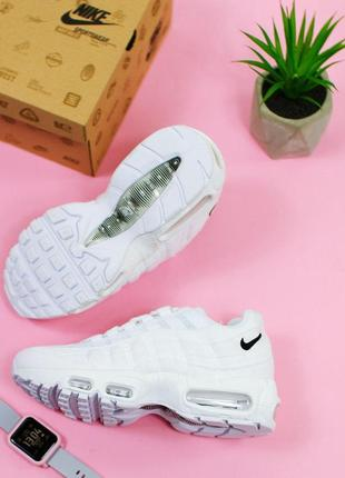 Шикарные женские кроссовки nike air max 95 full white 😍 (весна/