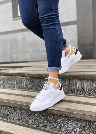 Шикарные женские кроссовки adidas stan smith white black 😍 (ве...