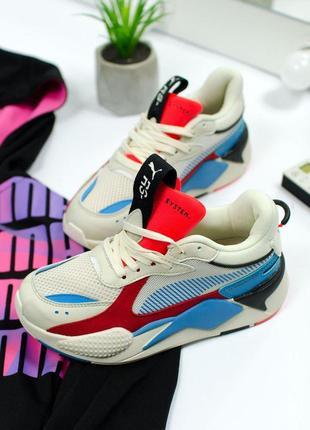 Шикарные женские кроссовки puma rs-x blue red 😍 (весна/ лето/...