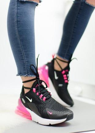 Шикарные женские кроссовки nike air max 270 black pink 😍 (весн...