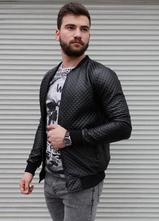 Куртка бомбер мужской в ромб черный / курточка кожанка в ромб ...