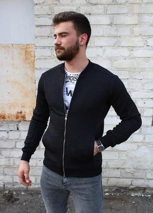 Куртка бомбер мужской стеганый в ромб черный / курточка стьоба...