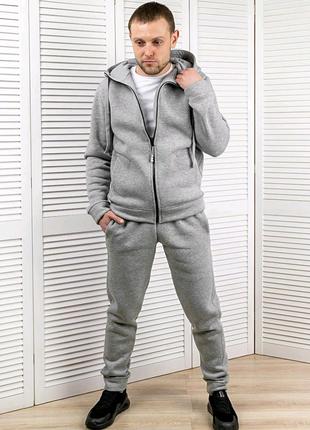 Спортивный костюм мужской, серый меланж