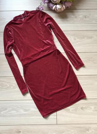 Велюровое платье с длинным рукавом цвет  s m