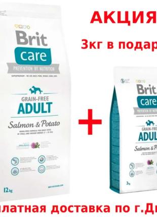 Сухой беззерновой корм для собак Brit Care Adult Salmon & Potato