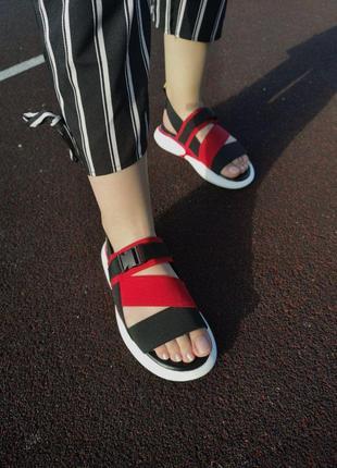 Шикарные женские летние сандали off white black red 😍 (босоножки)