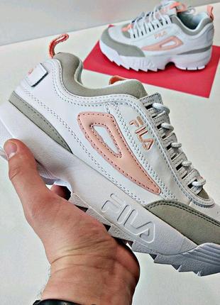 Шикарные женские кроссовки fila disruptor 2 white grey pink 😍 ...