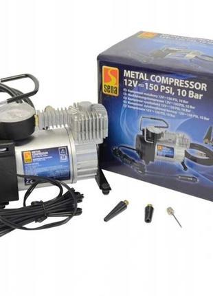 Автомобільний металевий насос компресор Sena 12V 150 PSI, 10 Bar
