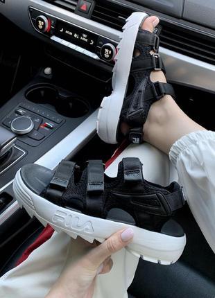 Шикарные топовые женские босоножки fila sandal black 😍 (сандалии)