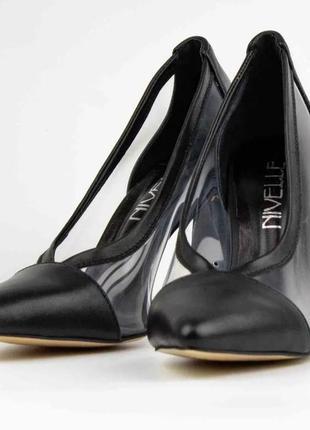 👠женские туфли из натуральной кожи и прозрачными вставками
