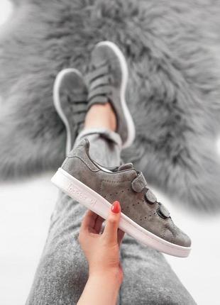 Женские кроссовки на липучках adidas stan smith grey 😍 (весна/...