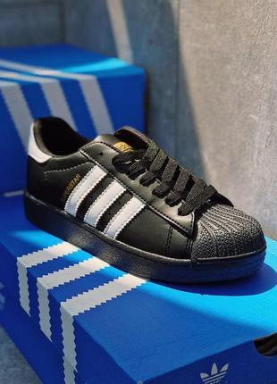 Шикарные кроссовки унисекс adidas superstar black 😍 (весна/ ле...