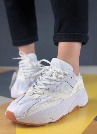 Шикарные женские кроссовки yeezy wave runner 700 white 😍 (весн...