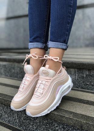 Шикарные женские кожаные кроссовки nike air max 97 pink 😍 (весна/