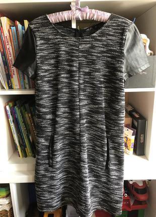 Платье с кожаными вставками : эко кожа
