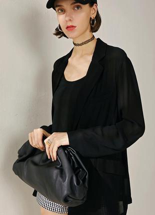 Большая сумка пельмень, черная женская сумочка