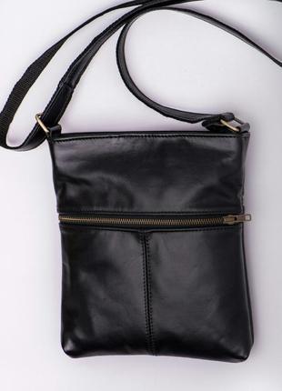 Кожаная черная мужская сумка планшет
