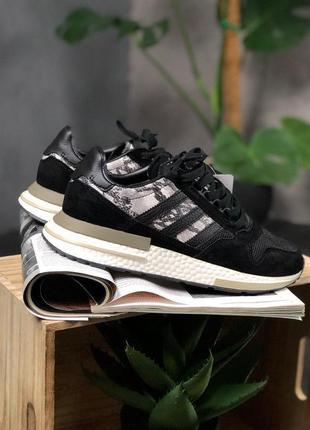 Шикарные мужские кроссовки adidas zx 500 black white and snake...