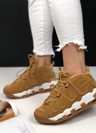 Шикарные женские кроссовки nike air more uptempo beige white f...