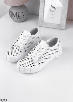 Лёгкие белые кроссовки,кеды, натуральная кожа