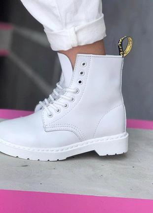 Шикарные женские белоснежные ботинки dr.martens white  😍 (деми...