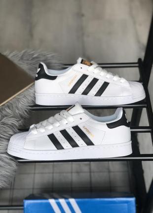 Мужские кожаные кроссовки adidas superstar white black 😍 (весн...