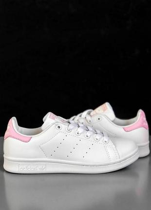 Шикарные женские кроссовки adidas stan smith white/ pink 😍 (ве...