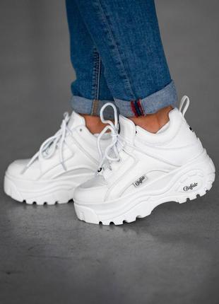 Шикарные женские кожаные кроссовки на платформе buffalo white ...