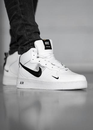 Шикарные зимние мужские кроссовки nike air force 1 off white с...