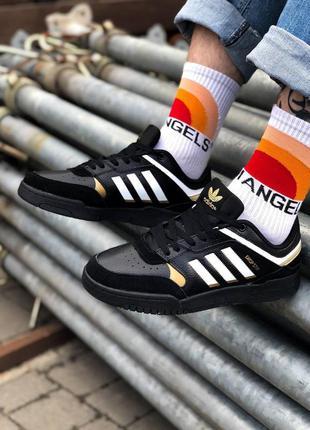 Кроссовки в стиле adidas drop step black gold