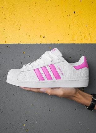 Шикарные женские кроссовки adidas superstar white/pink 😍 (осен...