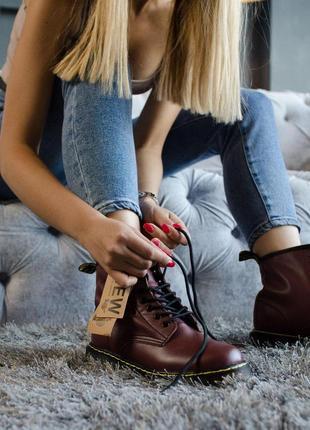 Шикарные женские кожаные ботинки dr.martens bordo 😍 (демисезон...
