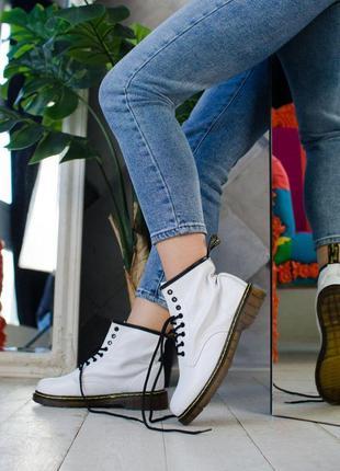 Шикарные женские белоснежные ботинки dr.martens white 😍 (демис...