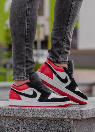 Шикарные мужские кроссовки nike air jordan 1 low white/red/bla...