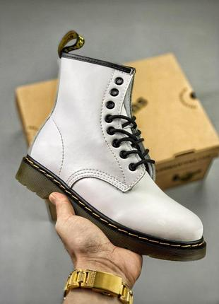 Шикарные осенние ботинки dr. martens 1460 white без меха 😍 (ун...