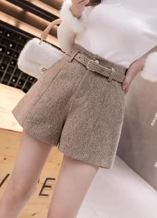 Женские шерстяные шорты с завышенной талией, теплые, трапециевид