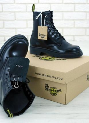 Женские осенние ботинки на платформе dr. martens 1460 mono bla...