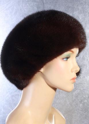Зимняя женская, норковая шапка, коричневая