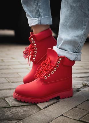 Шикарные женские ботинки/ сапоги classic boot red 😍 (без меха)