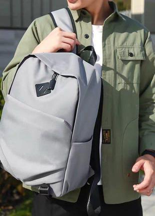 Мужской городской спортивный рюкзак серый в дорогу