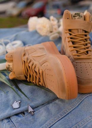 Шикарные женские кожаные кроссовки nike air force brown 😍 (вес...