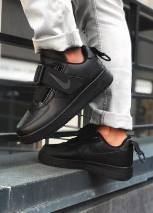 Шикарные мужские кожаные кроссовки nike air force 1 utility bl...