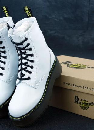 Женские осенние ботинки на платформе dr. martens jadon white 😍...